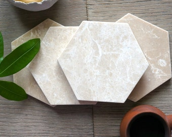 New***  Crema Nova Marble Hexagon Coasters. Polished Hexagon Marble. Set of 4
