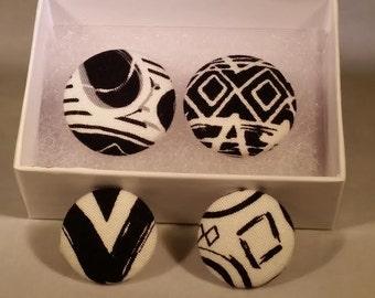 black and white fabric earrings