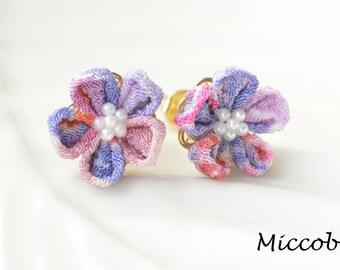 Japanese Fabric Floral Earrings - Purple