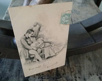 Antique French postcard! Romantic brocante ca. 1900 black and white