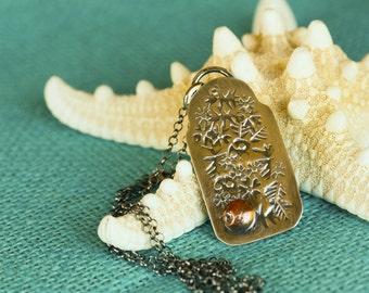 Mixed Metal Sterling Silver and Copper Stamped Botanical Leaves and Flowers Pendant Necklace,