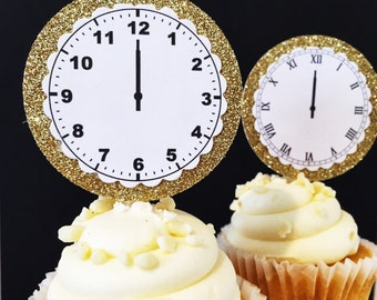 New Year's Eve Party Decorations - NYE Party Decorations - Cupcake Toppers - Clock Cupcake Topper - Cupcake Picks - New Years Decorations