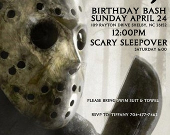 Horror Scary Bash Birthday Halloween Party Invitation Digital Download File