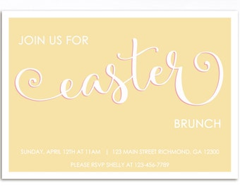 Easter Invitation, Easter Brunch Invitation, Easter Egg Hunt Invitation, Printable Invitation, Birthday Invitation, Easter Invite, Yellow