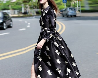 Andromeda Starlet Long Dress in black and white