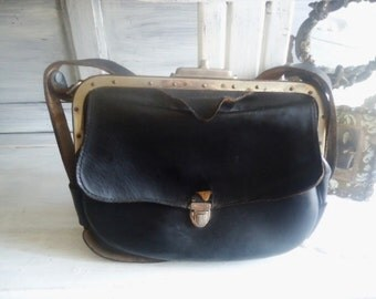 French Postmaster bag,Black leather messengerbag vintage,Period 1930,