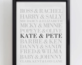 Personalised Couples Wedding Anniversary Print