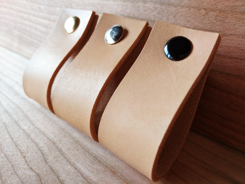 Leather pulls drawer dresser cabinet door handles by for Tiradores de cocina