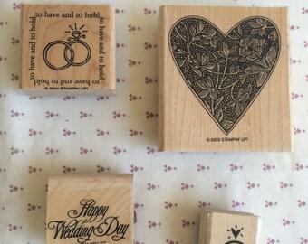 Stampin Up stamp, Wedding stamp, wedding rings stamp, Heart stamp, Marriage stamp, wood stamp