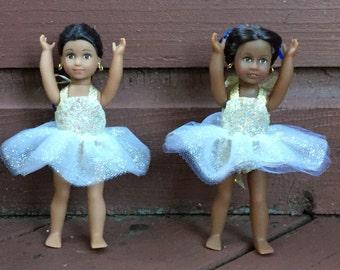 "6"" mini doll clothes:  gold sparkly tutu"