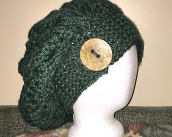 "Oversized Chunky Slouchy Hat ""Beanie"" - ADULT SIZE with large button"