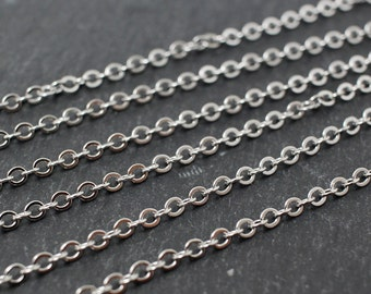 N0003/Anti-Tarnished Rhodium Plating Over Brass/245SF Flat Cable Chain/1.9x2.6mm /1yard