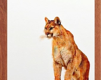 Mountain lion, Cougar, wildlife watercolour, wildlife wall art, digital print, Cougar painting.