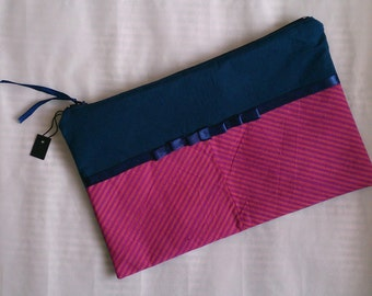 Handmade fabric clutch purse / cosmetic bag / pencil case, with contrast patterns & ribbon detail