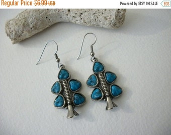 ON SALE Vintage Southwestern Silver Tree Textured Turquoise Earrings 70616