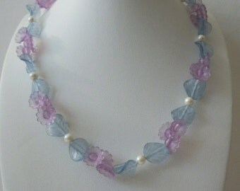 ON SALE Vintage Dainty Blue Lilac Transparent Frosted Flower Necklace 81916