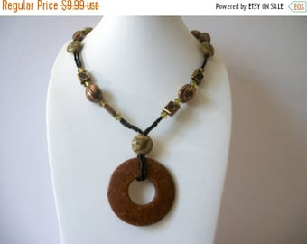 ON SALE Vintage BOHO Tribal Polished Stone Seed Beads Necklace 92716