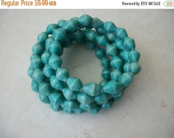 ON SALE Vintage Turquoise Blue White African Paerbeads Spiral Coil Bracelet 1601