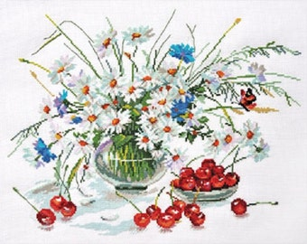 Counted Cross Stitch Kit by Alisa - Daisies and Cherries