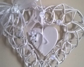 Wedding Collectibles/ Wicker Hanging Heart Keepsake