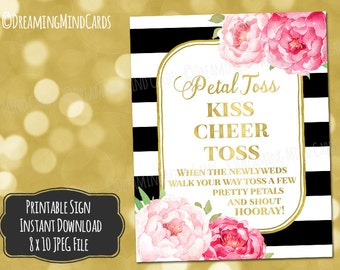 Printable Petal Toss Sign 8x10 Pink Watercolor Flowers Gold Black and White Stripes Wedding Digital Download