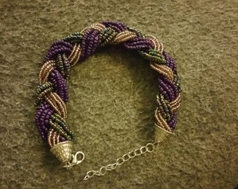 Purple Braided Bead Bracelet