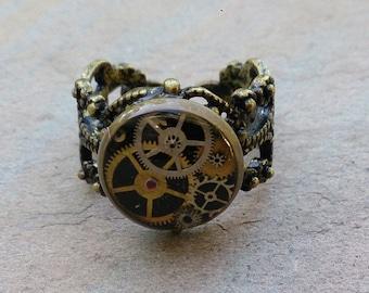 fancy bronze steampunk resin ring