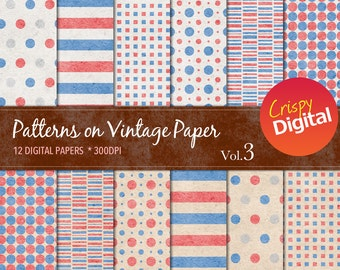 Patterns on Vintage Paper Red, White and Blue Digital Papers 12pcs 300dpi Digital Download Scrapbooking Printable Paper
