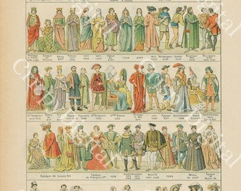 Antique Print French Encyclopedia Costumes, Clothing and Fashion Roman Times to 1650 Digital Download Image Illustration Printable Art