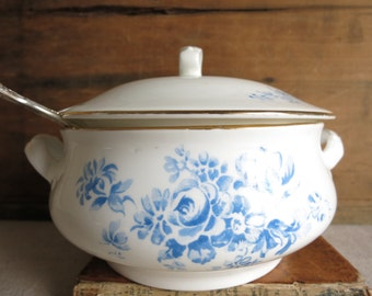 Vintage Crown Staffordshire Serving Dish Blue and White Bone China Server Made in England