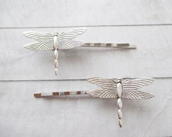 Dragonfly hair clips Silver Dragonflies Hair Pins silver Bobby Pins Brass Nature Wedding Bridesmaids Bridal Gifts Hair Accessories Girl