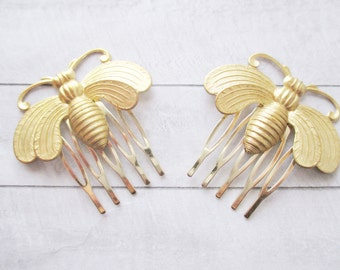 Gold bee hair combs Bumblebee Hair Accessories Woodland Nature Wedding Raw Brass Honeybee Hair Clip Bridesmaids Bridal Gift