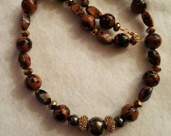 Gold Dust Bead and Hematite Necklace jewelry, bead jewelry, statement necklace