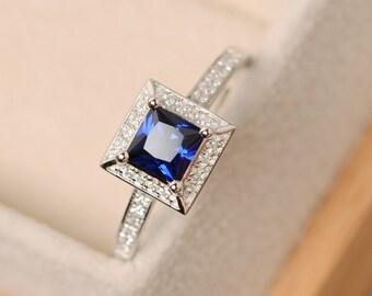 Sapphire ring, princess cut ring, blue sapphire, gemstone ring sapphire