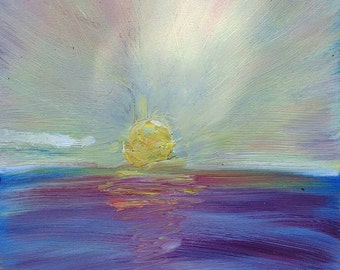 Rainbow sunset original  oil painting