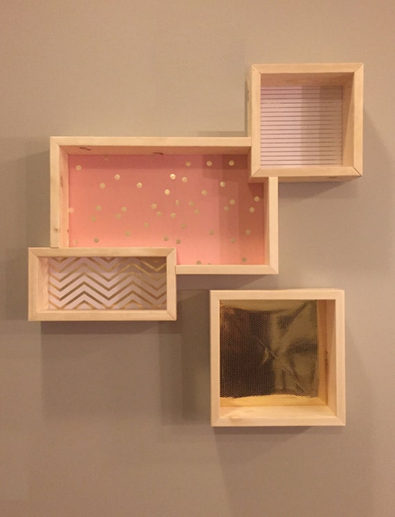 Gold Square Wall Decor : Wooden square wall art shelves gold chevron by thandvine