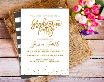 graduation invitations, gold graduation invitation, graduation gold invitation, senior graduation invitation, college gold graduation party