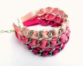 Ribbon Bracelet. Pink Bracelet. Cuff Bracelet. Multi Chain Bracelet. Multi Strand Bracelet. Woven Bracelet. Colourful Jewellery.