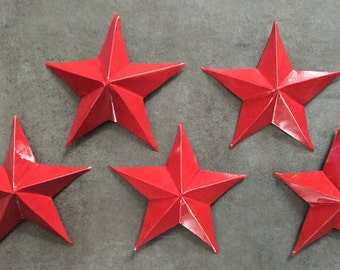 Upcycled Aluminum Can Stars - Red - Set of 5