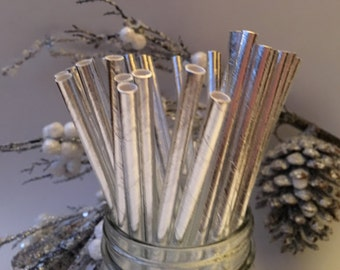 Silver Foil Paper Straws, Christmas Straws, Silver Straws, Holiday Paper Straws, Holiday Party, New Years Eve, Holiday Straws, 10 pcs