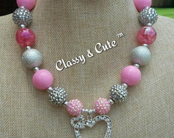 Silver and Pink Chunky Necklace