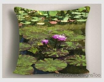 Lilly Pond Throw Pillow, Green Decorative Pillows, Flower Pillows, Green Pillow Covers