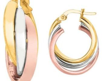 14kt Yellow+White+Rose Gold Shiny Triple Row Hoop Earring