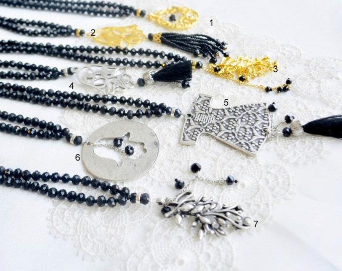 Black unisex misbah, golden onxy gemstone, caftan, turkish, hand, hamsa, tassel, quran, arabic, calligraphy, islamic wedding bridal, haffaza