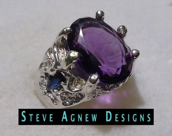 Big Amethyst and Sapphire Ring