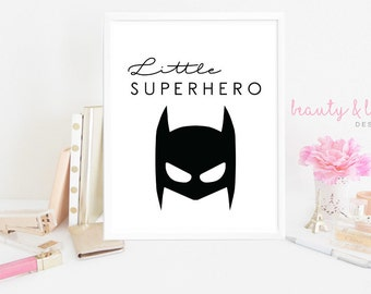 Little superhero quote | boys printable wall art | nursery wall art | childrens digital print | INSTANT DOWNLOAD