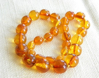 LOVELY Cognac 100% natural AMBER beads necklace ~33g~ SUNNY golden honey - inA1099