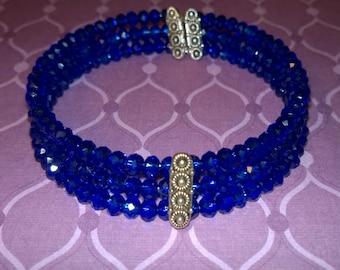 3-layer cobalt blue Swarovski beaded bracelet