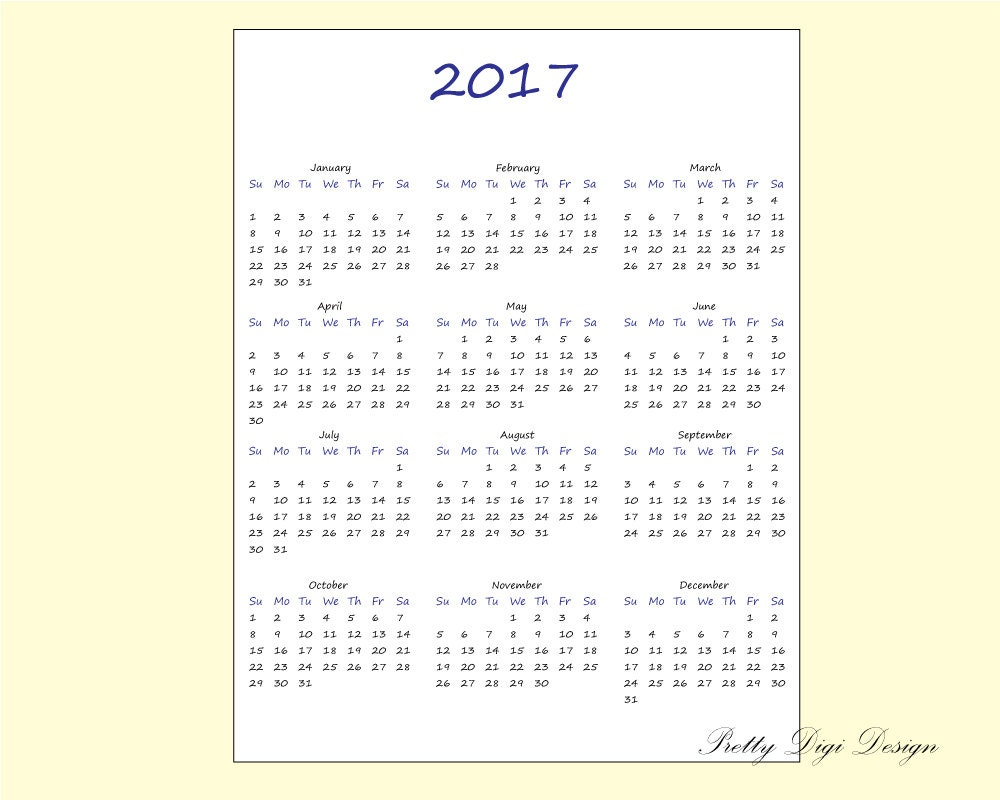 Printable One page Calendar 2017 Ready to by PrettyDigiDesign