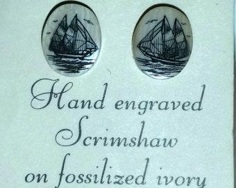 Vintage Skrimsaw on fossilized Ivory stud earrings. Ships. Never worn.